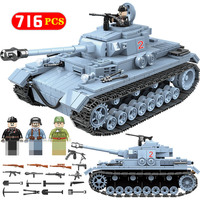 Technik Military Bricks Sets Compatible Legoed WW2 German Tank Army City Soldier Police Weapon Building Blocks Toys for Boys