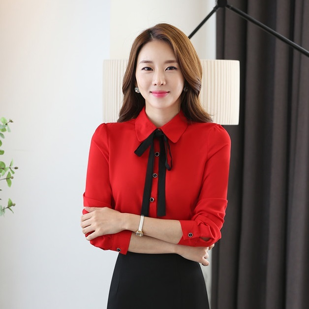 Female Formal Ladies Red Blouses Women Shirts Long Sleeve Office Uniform  Blouse and Tops Female OL Style a7c3f095ccb5