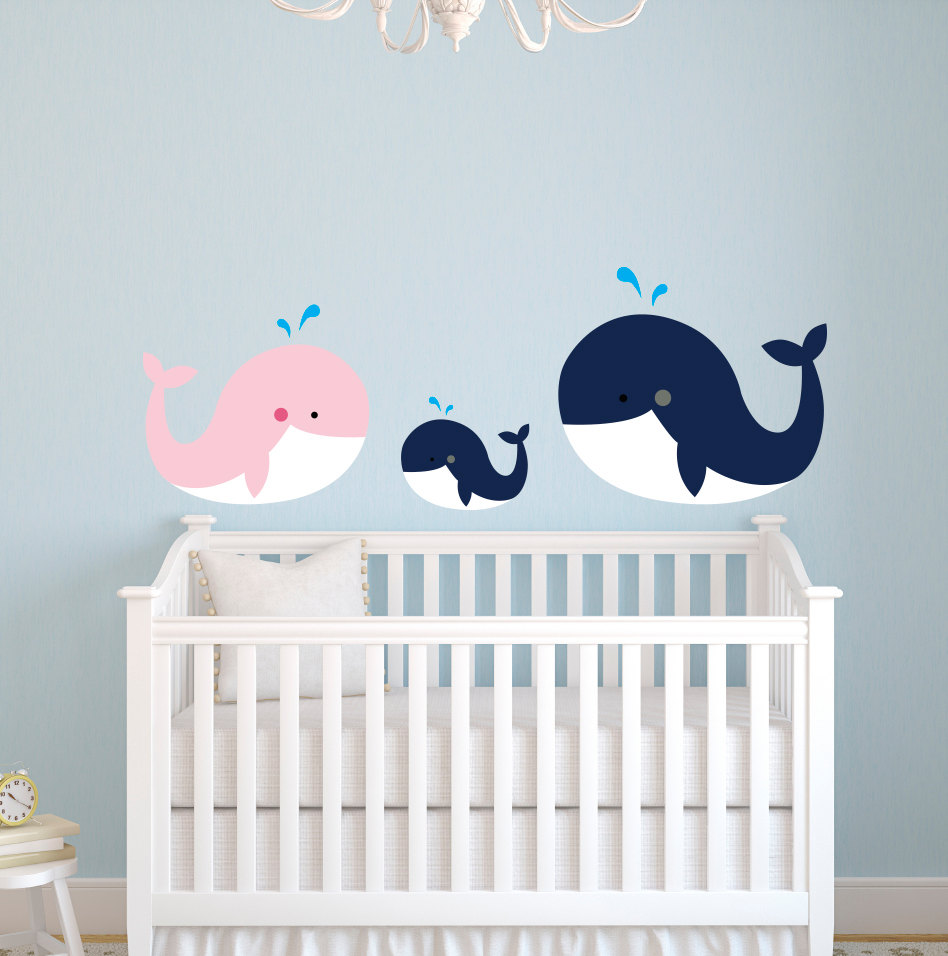 Customized Color Nautical Theme Large Whale Family Wall Stickers For Kids  Room Girls Boys Bedroom Nursery