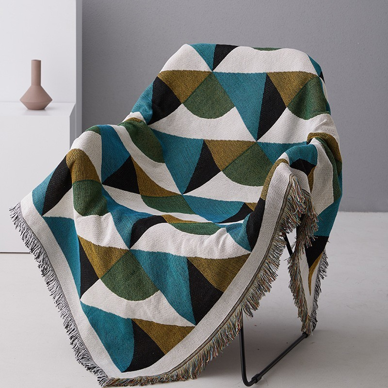 Image 3 - Vintage Geometric Green Sofa Throw Blanket Knitted Sofa Weighted Blanket Cotton Couch/Chair Cover Tapestry Carpet Travel Blanket-in Blankets from Home & Garden