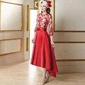 2017 Красный мать невесты платья Три четверти Рукав линия Моды Высокий Низкий Женщины вечернее платье Элегантный Кружева платья ху