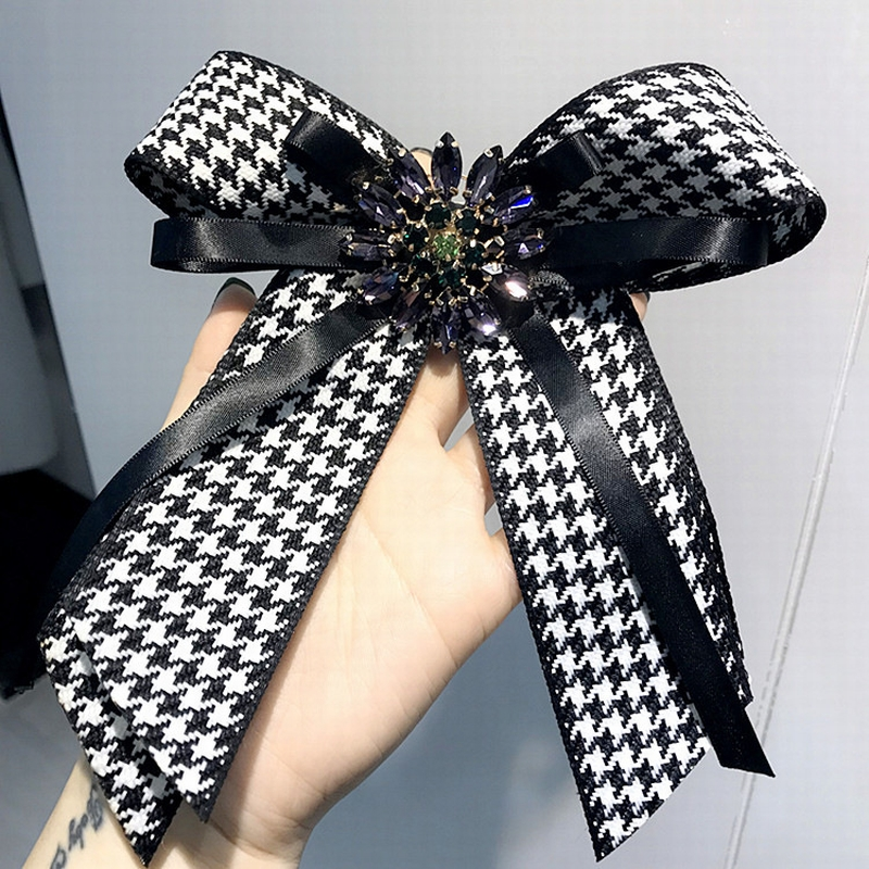 Korean Vintage College Houndstooth Swallow Gird Big Bow Tie Brooches for Women Fashion Shirt Corsage Jewelry Accessories fashionable houndstooth pattern 6 5cm width tie for men
