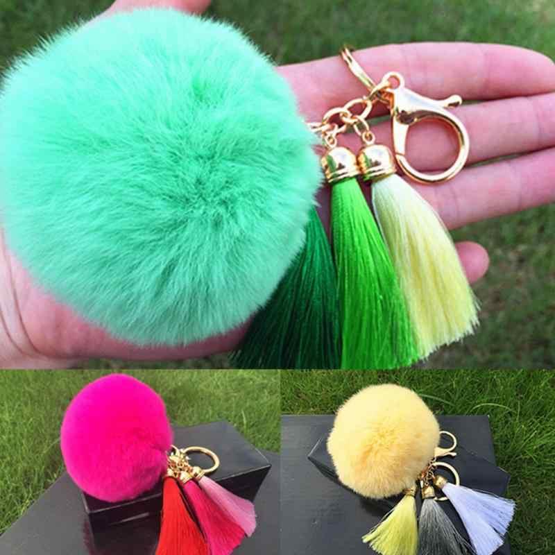 Новинка, женский брелок с кисточкой и помпоном, брелок с кисточкой из кроличьего меха, пушистый помпон, брелок для ключей, сумка с большим шармом, брелок для ключей