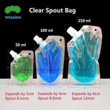 Doypack 50-250ML PET Clear Food Storage Stand Up Spout Liquid Bag Pack Sauce,Beverage,Squeeze,Drink Spout Pouch 20 Pcs/lots(China)
