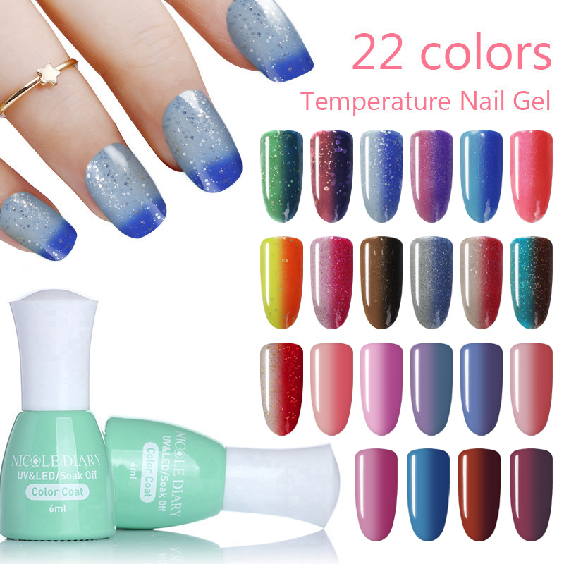 NICOLE DIARY Colorful Glitter Thermal Gel Varnish 6ml Soak Off ...
