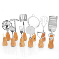 12 Sets Of Korean Wooden Handle Smiling Face Tableware Suit Stainless For Kitchen Gadgets Suit Cooking Tools Oil Sprayer