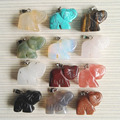 Wholesale stone Elephant selling Natural stone Elephant pendants jewelry Animal Pendant Necklace 12pcs/lot free shipping