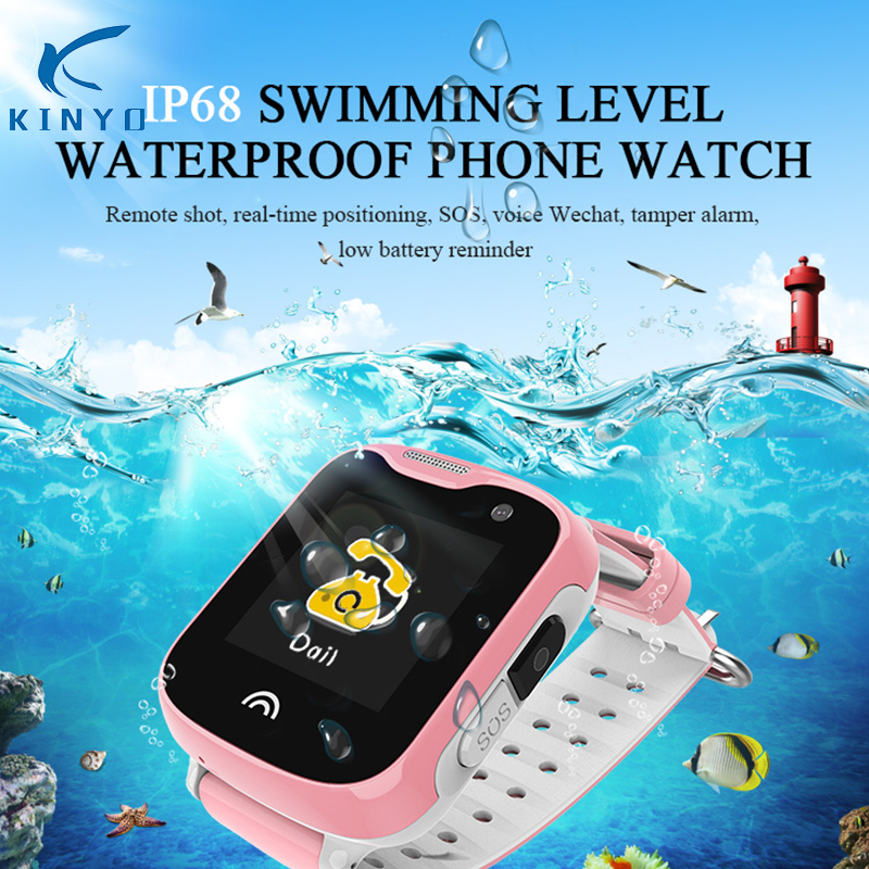 2018 Nouvelle arrivée enfants smart watch IP68 étanche montre-bracelet GPS + LBS + WIFI précis positionnement smartwatch support micro carte sim