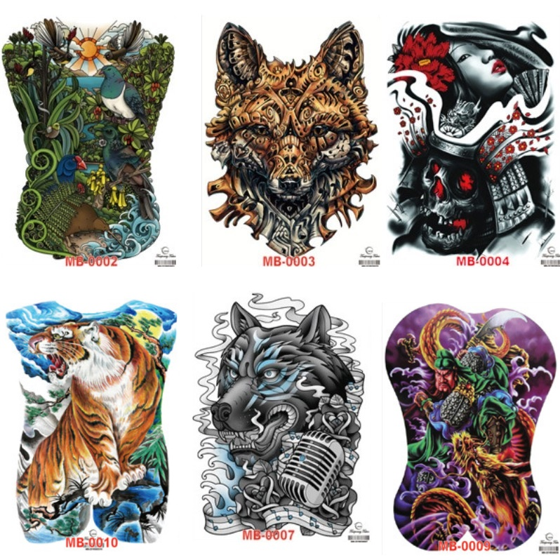 Wholesale Fake Transfer Full Back Waterproof Removable Temporary Tattoo MB 35*48cm Large Body Tattoo Onetime Tatuajes 500pcs/lot