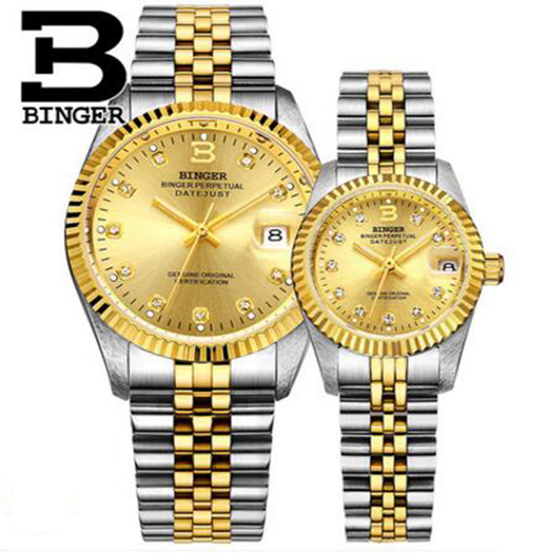Genuine Luxury BINGER Brand Men Women automatic mechanical self-wind couple watch waterproof steel business casual fashion table original binger mans automatic mechanical wrist watch date display watch self wind steel with gold wheel watches new luxury