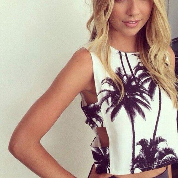 Sexy Women's Tops T Shirt Nice Coconut tree Print Crop
