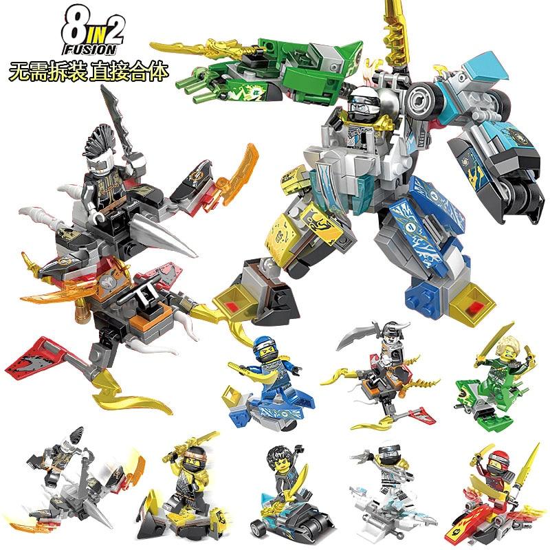 DR.TONG 80PCS Ninja Thunder Sword 8 in 2 Action Figure Kai Jay Cole Zane Lloyd Building Blocks Bricks Gifts Children Toys SY1101