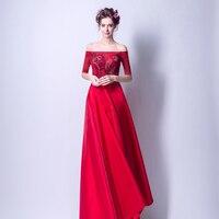 2019 платья женские вечерние красные с вырезом лодочкой Длинные Цветочные Vestidos de gala длиной в Пол; с вышивкой бисером на заказ Плюс Размер выпу