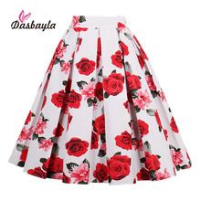 Dasbayla 2017 Women Print Pleated Skirts faldas Mujer Elastic Waist Ladies Fashion Streetwear Mid-Calf Honeybee Swan Apple Print