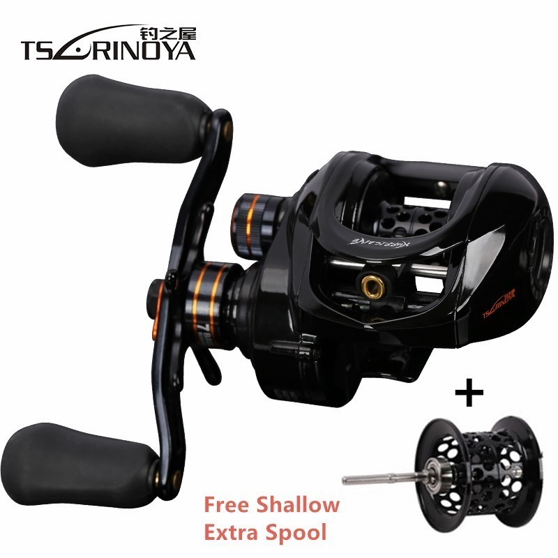 TSURINOYA Hurricane Fishing Baitcasting Reel Speed Ratio 6.4:1 Shallow Deep Double Metal Spools Saltwater Bait Casting Reel-in Fishing Reels from Sports & Entertainment    1