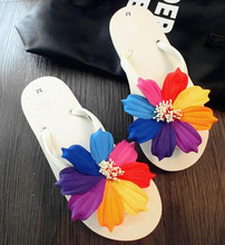 Summer Style Splendid sweet Women Sandal Beach Shoes Flower Flat Heels Flip Flops Women's Shoes  Sandals 35-43