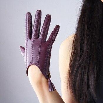 dbc94dde9f Guantes de piel de oveja de cuero genuino puro gamuza borla cremallera  diseño corto versión europea de los guantes de las mujeres pantalla táctil  TB01-5