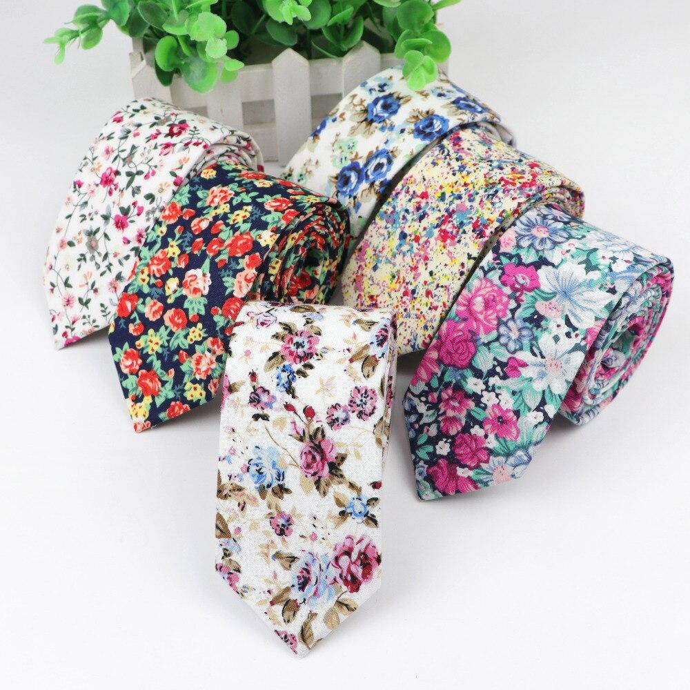 Cotton Flower Tie Men's Colourful Floral Ties Necktie Narrow Paisley Slim Skinny Cravate Narrow Thick Neckties
