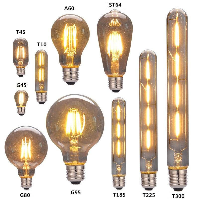 Retro Edison Bulb E27 220V A60 ST64 T10 T45 T185 G80 G95 Ampoule Vintage Bulb edison Lamp Incandescent Filament Light Bulb Decor