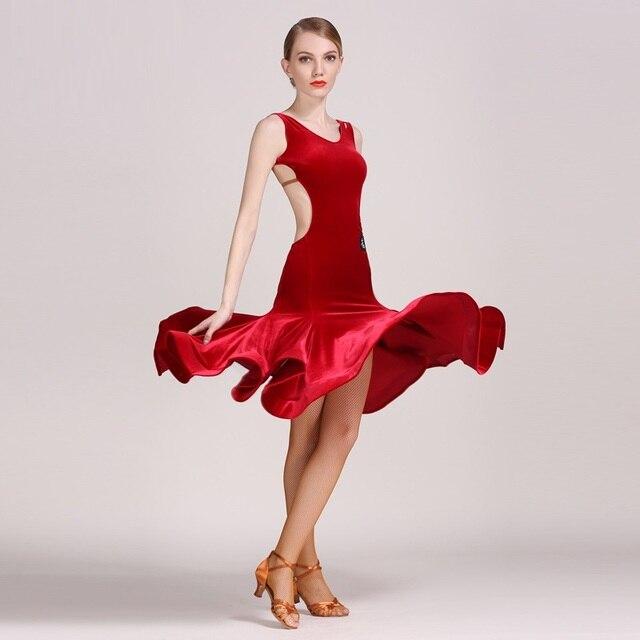 Vestidos venta dress para latina de baile latino de terciopelo traje para  las mujeres traje de 862eb8f9f04