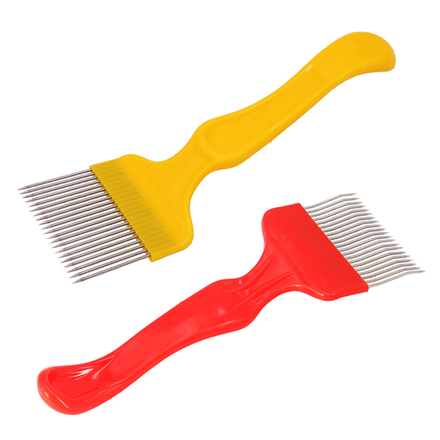 SenNan 1Pc Good Quality 21 Pin Stainless Steel Tines Comb Uncapping Fork Scratcher Two-color Cut Honey Fork Bee Beekeeping Tools