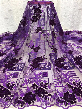 Purple African Lace Fabric 2019 High Quality African Tulle Lace Fabric With nice Velvet French Net Lace For Women Dress F7