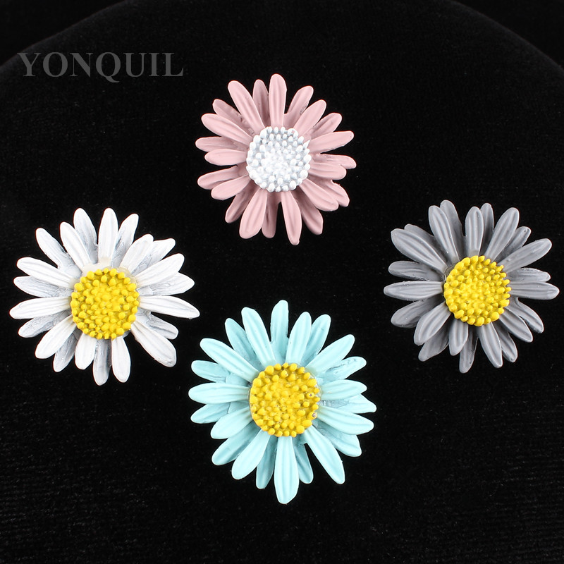 4 Colors Women Popular metal flower garment patch buttons glue on art crafts hats bags shoes DIY accessories 12pcs/lot SYBB72