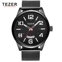 TEZER relojes de marca hombres reloj deportivo multifunción de negocios cuarzo impermeable relogio masculino T5024
