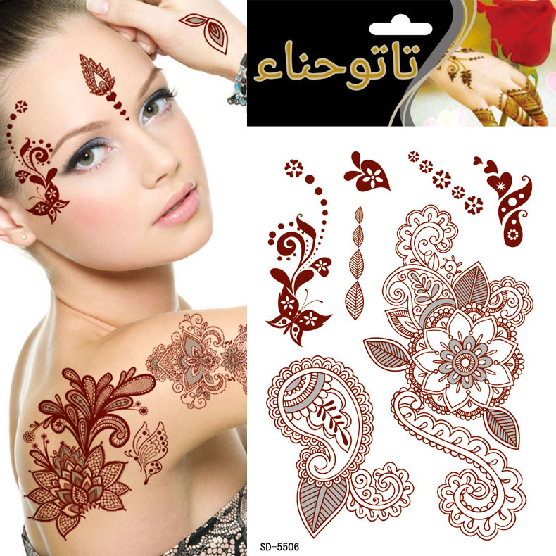 Summer style golden tattoo flowers glitter tattoo stencil for Red henna tattoo