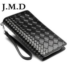 J.M.D Intrecciato Men Wristlet Clutch Wallet 100% Genuine Leather Handmade Knitting Phone Wallet Credit Card Holder Cluth