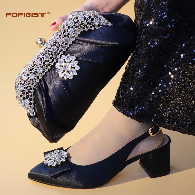 Und Passenden fuchsia Für Hochzeit 2019 Party Frauen yellow Lila Afrikanische purple Schuhe Italienische Steinen Farbe Set Design Mit Tasche Black EPER4fq