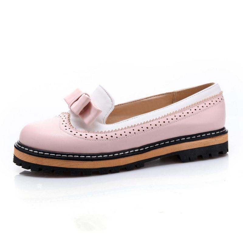 RizaBina Big Size 32-43 Women Slip On Flats Shoes Women Cute Bowtie Lace Shallow Mouth Ladies Platform Leisure Footwear
