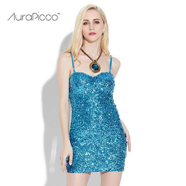 Women's Spaghetti Strap Fitted Sequin Mini Dress V-neck Backless Shiny  Metallic Sequin Sheath Bodycon