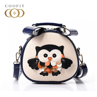 Coofit Cartoon Owl Printed Women Shoulder Bag Baby Girl Mini Cute Tote Bags Female Barrel Shaped