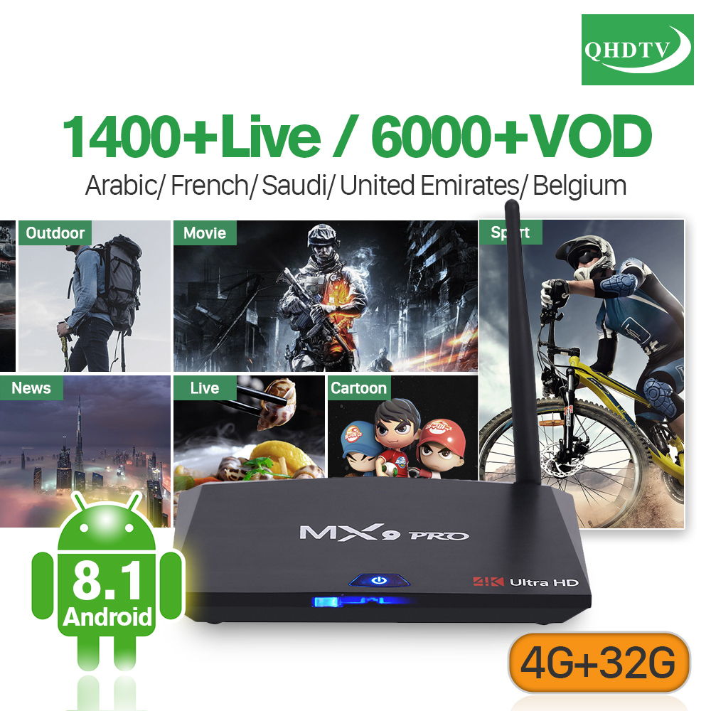 Arabic IPTV Subscription QHDTV 1 Year Box MX9 Pro Android 8.1 Support BT Dual-Band WiFi 4G 32G H.265 Decoder TV France Code IPTV цена