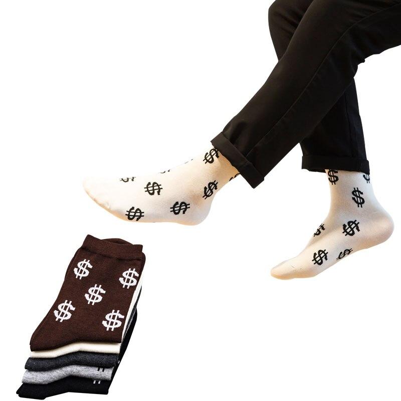 5pairs High Quality Cotton Men Crew Socks Creative Money Sign Funny Harajuku Comfort Shaping Deodorant Sock Man Socks Meias Crew
