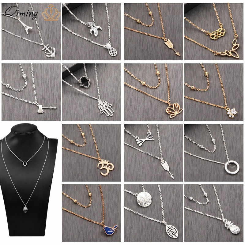 Minimalist Long Layered Necklace Collar Beads Yoga Arrow Hamsa Crystal Gold Silver Multi Layer Necklace For Women Gift