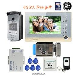 Бесплатная доставка 7 цветной ЖК-экран видеодомофон дверной телефон комплект + RFID дверной Звонок камера + Электрический замок управления