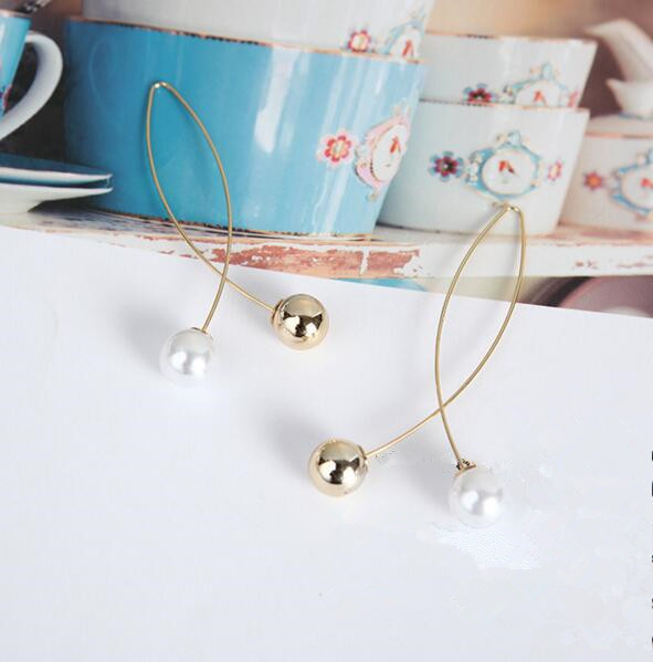 ey143 Fashion Simple style new listing fashion simple cross imitation pearl earrings Female charm jewelry 1 pair