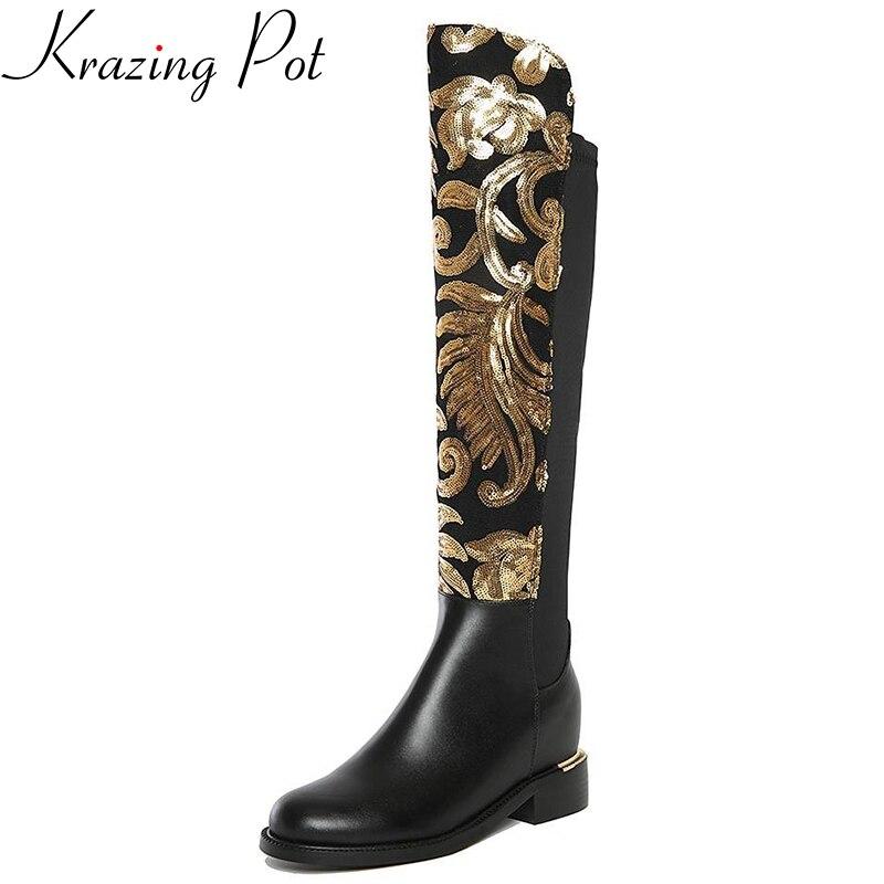 2018 chaussures d'hiver grande taille talon épais marque paillettes femmes Genou Haute bottes causal chaud talon bas en cuir véritable sexy bottes de mode
