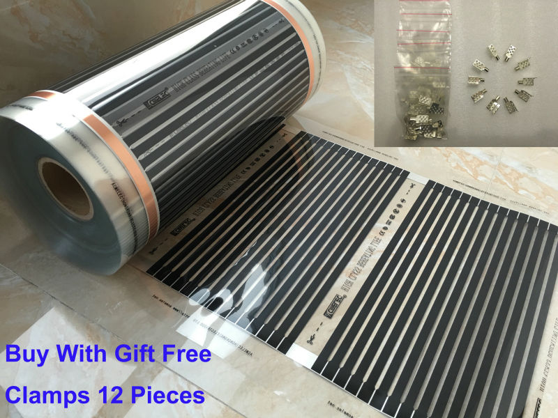 Top Sales DHL Free Shipping AC220V Infrared Floor Heating Film 5 Square Meters 50CM*10M Electric Heating Films 220W/Sq Meter