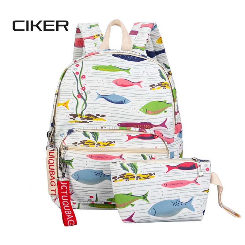 CIKER Women Backpacks For Teenage Girls School Bags Rucksack Back Pack Canvas Cute Fish Printing Backpack