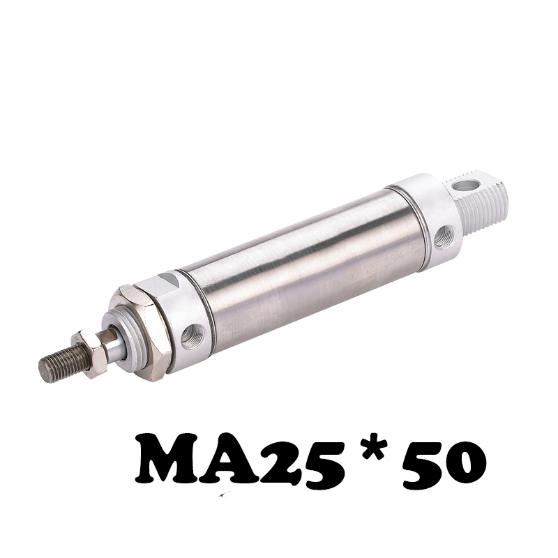MA 25*50 Stainless steel mini cylinder Stainless Steel 25mm Bore 50mm Stroke Pneumatic Valve MA Type Pneumatic Air Cylinder ma 32 25 stainless steel mini cylinder ma series ma 32 25 stainless steel pneumatic air cylinder