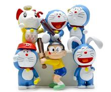 6 pcs/lot Cartoon Cute mini Resin toys doll of Baseball Doraemon Funko Pop Dolls Model Action Figures Dolls Toys Gift for kids
