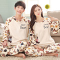 New winter Dear Bear flannel Couple sets pajamas thickening sleepwear sweet Men & Lady Indoor Casual Clothing Home Suit