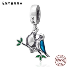 Sambaah Dangle Couple Birds Love Pendant 925 Antique Sterling Silver Charm Beads fit Pandora Valentines Day Bracelet SS3675