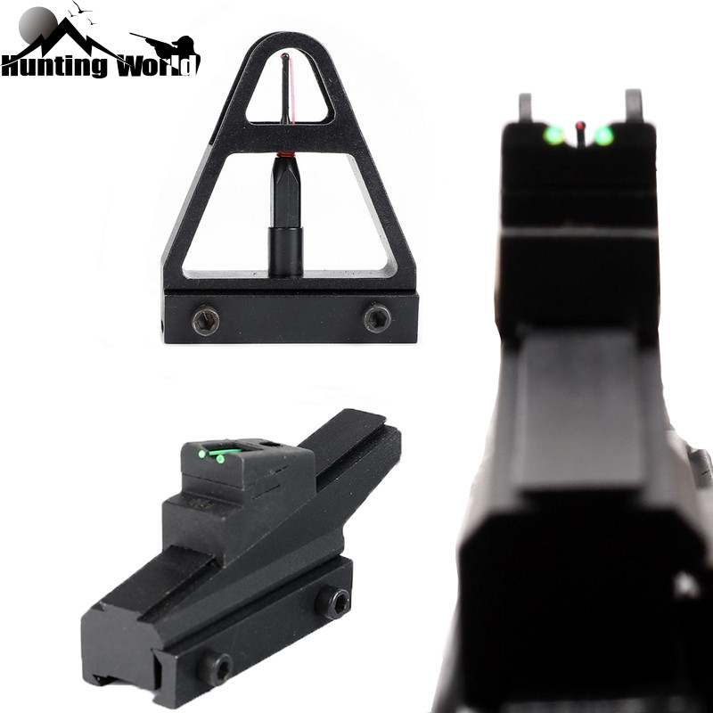 Tactical Adjustable Quick Detachable Green Red Fiber Optic Front Rear Sight  with 11mm dovetail Mount for Hunting Airsoft Airgun