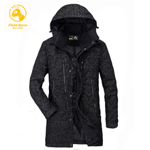 Field Base Men's Winter Jackets Coats Thick Warm Fashion Casual Stand Collar Removable Hood Long Parkas Jaqueta Masculina