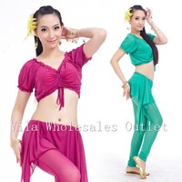 Belly Dance Clothes Costume Belly Dance Set Indian Dance Wear 3pcs Top Pant Skirt 13 Colors