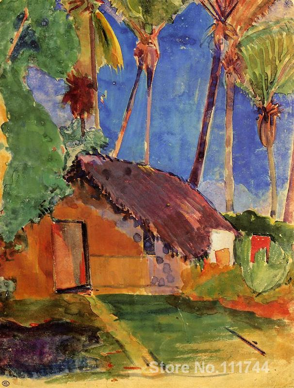paintings of Paul Gauguin Hut under the coconut palms artwork Landscape art High quality Hand paintedpaintings of Paul Gauguin Hut under the coconut palms artwork Landscape art High quality Hand painted